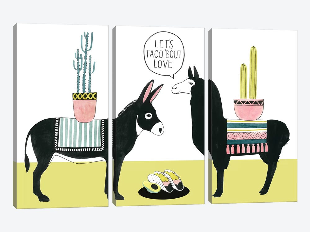 Let's Taco Bout Love I by Grace Popp 3-piece Canvas Art Print
