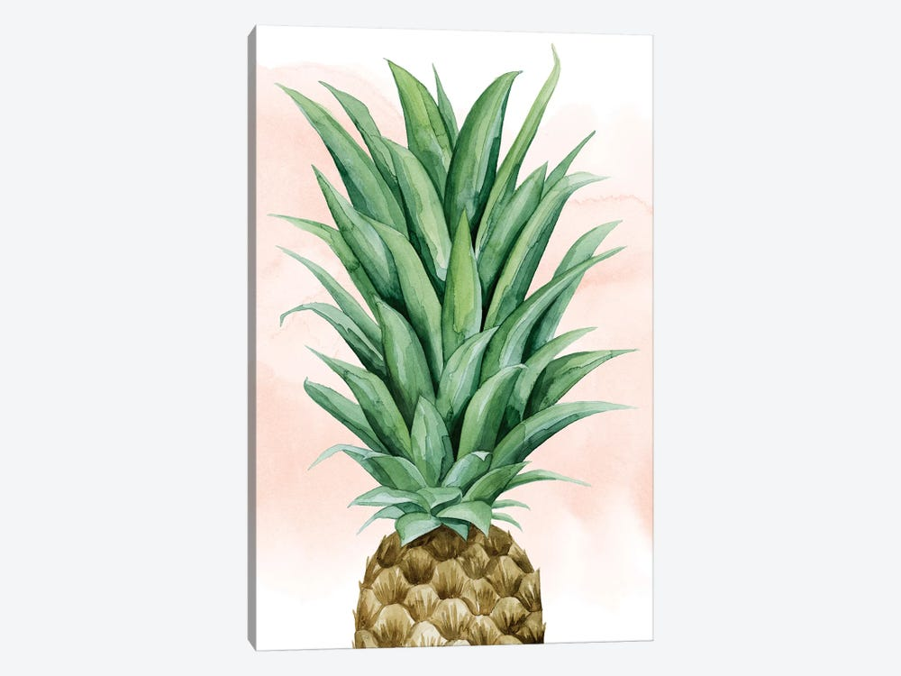 Pineapple On Coral II by Grace Popp 1-piece Canvas Art Print