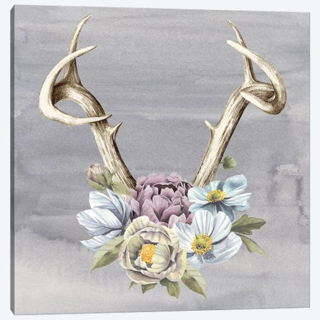 Antlers & Flowers I Canvas Print #POP730} by Grace Popp Canvas Artwork