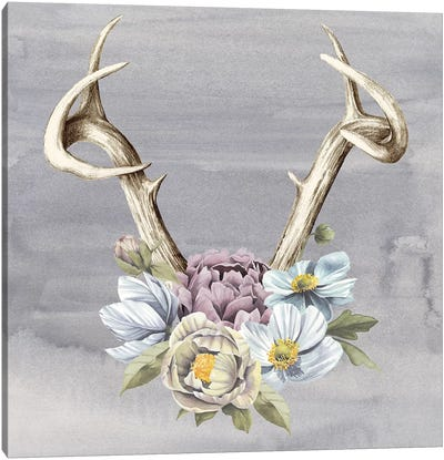 Antlers & Flowers I Canvas Art Print