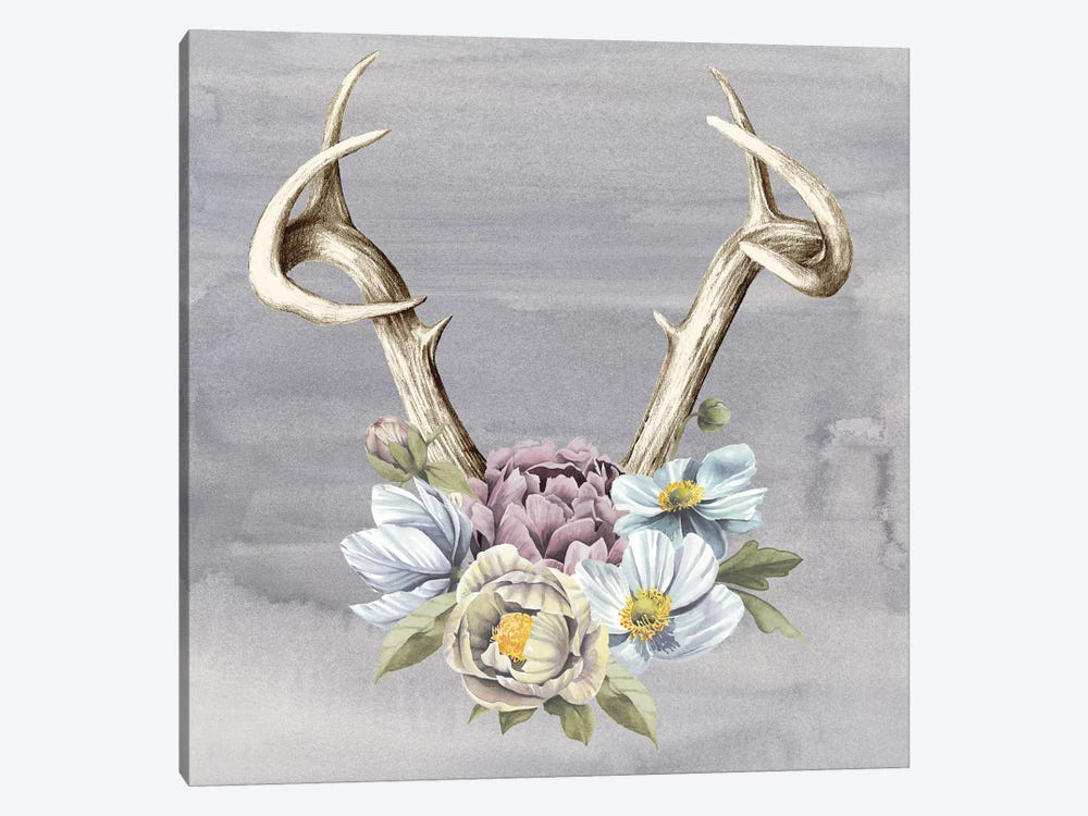 Antlers & Flowers I by Grace Popp 1-piece Canvas Wall Art