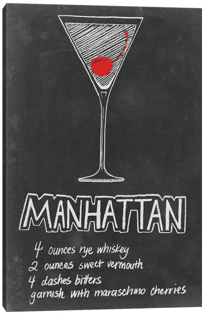 Chalkboard Cocktails Collection IV Canvas Art Print
