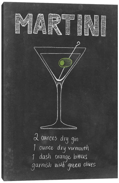 Chalkboard Cocktails Collection VI Canvas Art Print