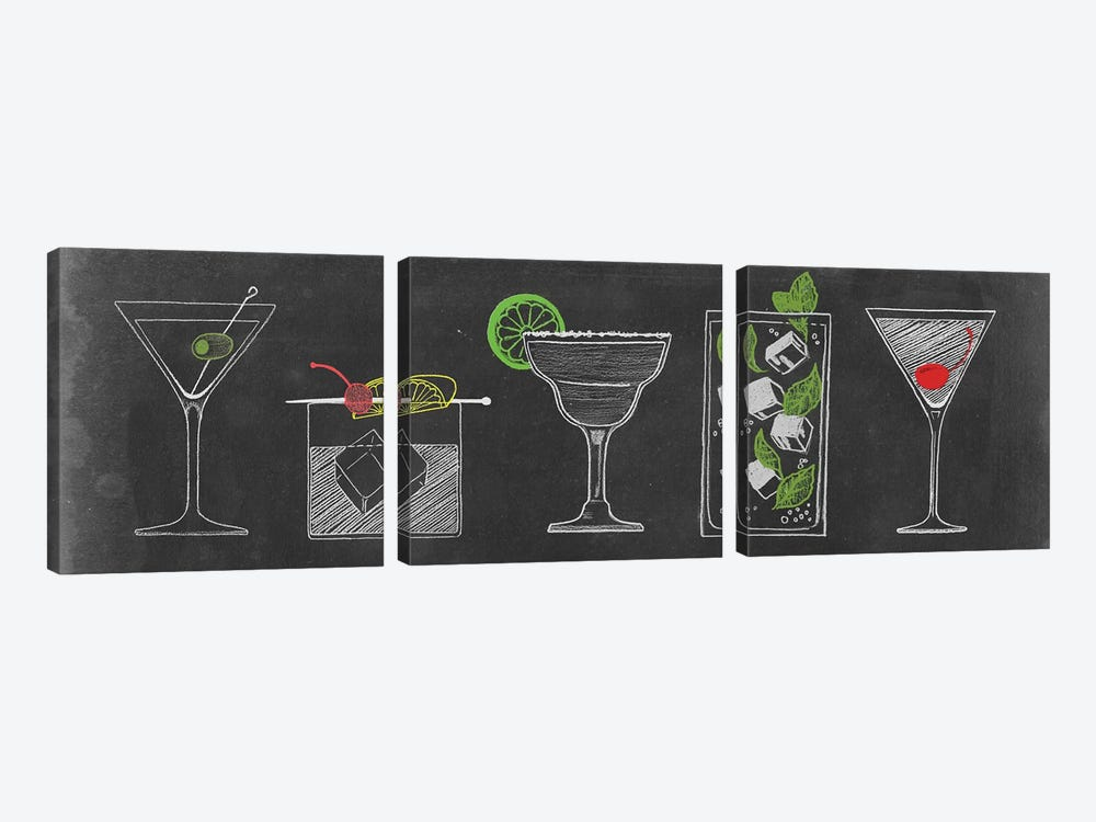 Chalkboard Cocktails Collection VII by Grace Popp 3-piece Canvas Print