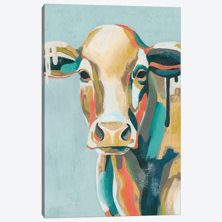 Colorful Cows I Canvas Print #POP747} by Grace Popp Canvas Wall Art