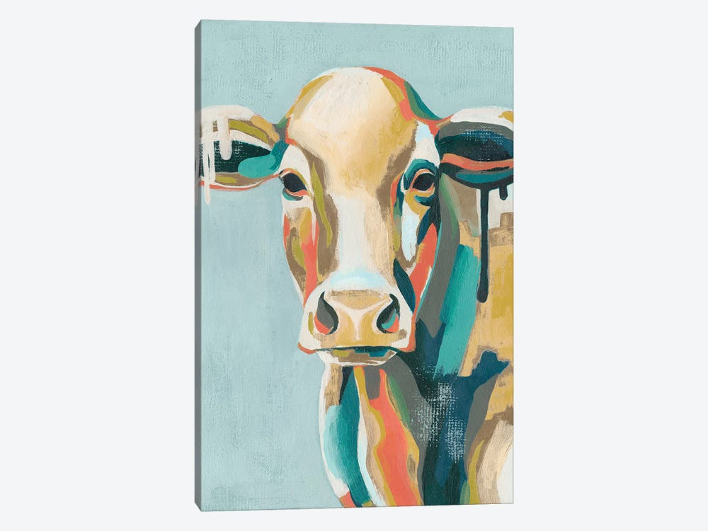 Colorful Cows I by Grace Popp 1-piece Canvas Wall Art