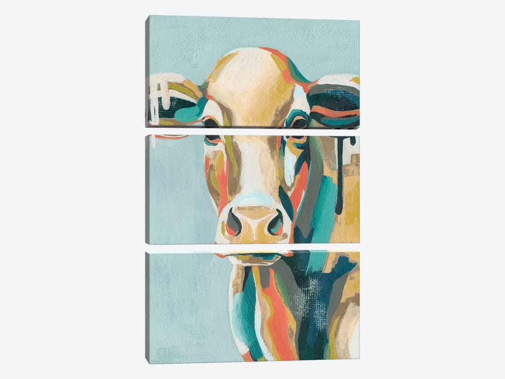 Colorful Cows I by Grace Popp 3-piece Canvas Wall Art