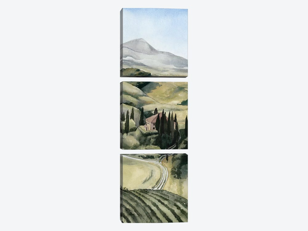 Watercolor Tuscany I by Grace Popp 3-piece Canvas Artwork