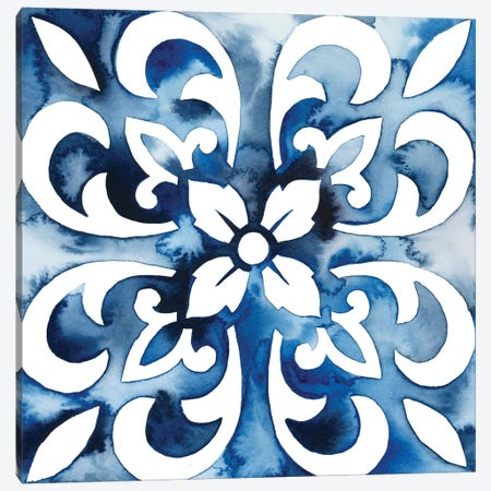 Cobalt Tile II Canvas Print #POP861} by Grace Popp Canvas Wall Art