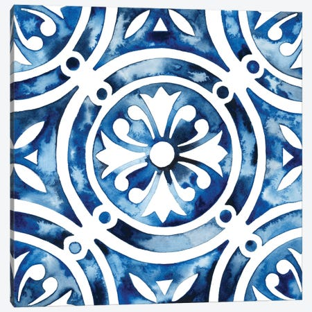Cobalt Tile IV Canvas Print #POP863} by Grace Popp Canvas Art