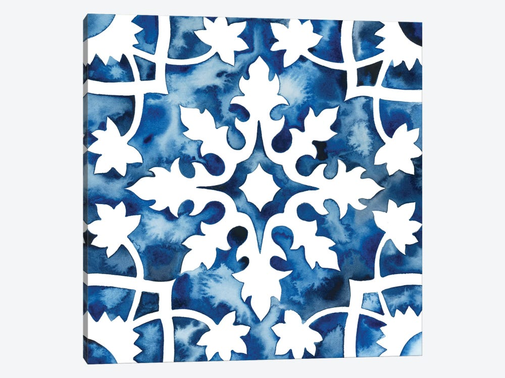 Cobalt Tile V 1-piece Canvas Print