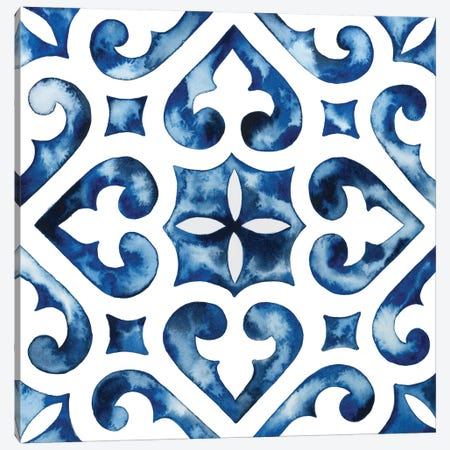 Cobalt Tile VI Canvas Print #POP865} by Grace Popp Canvas Print