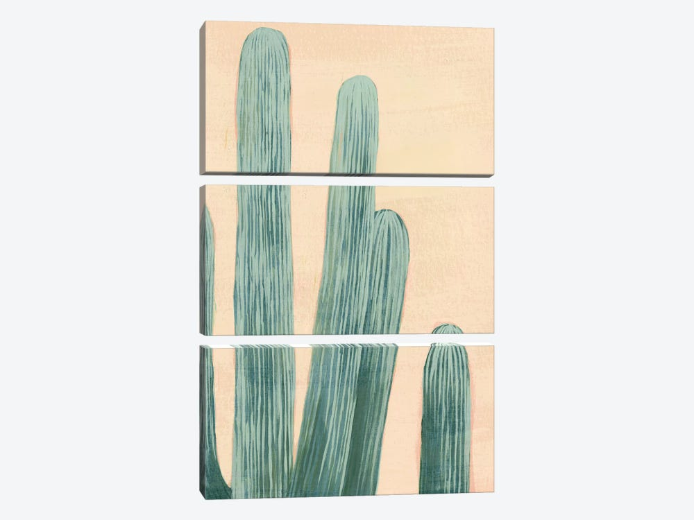 Dusty Cacti II 3-piece Canvas Print