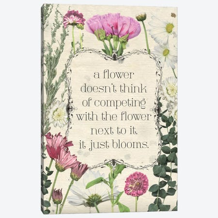 Pressed Floral Quote III Canvas Print #POP940} by Grace Popp Art Print