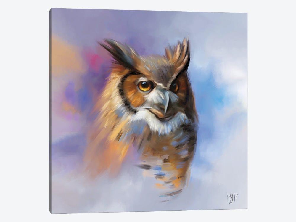 Horn Owl II by Petur Orn 1-piece Canvas Artwork