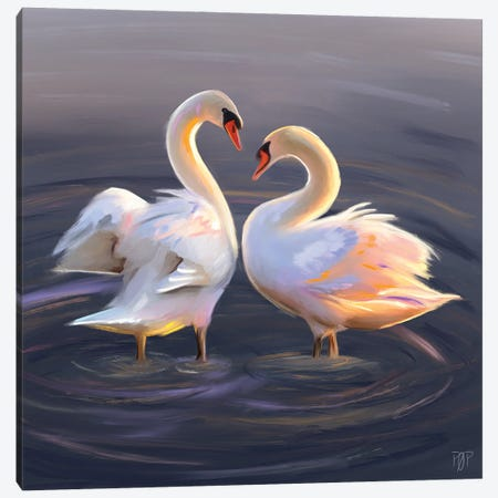 Swan Couple Canvas Print #POR30} by Petur Orn Canvas Wall Art