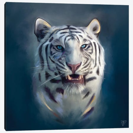 White Tiger II Canvas Print #POR32} by Petur Orn Canvas Wall Art