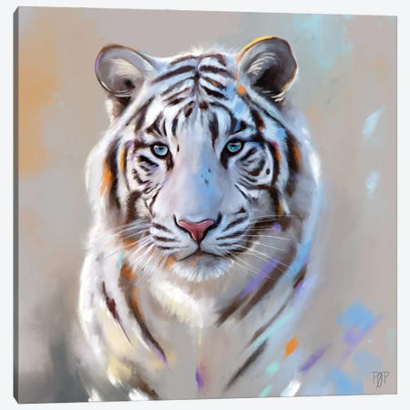 White Tiger Canvas Print #POR33} by Petur Orn Canvas Artwork