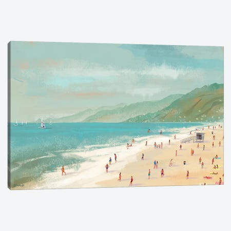 Santa Monica Beach Canvas Print #POS2} by Pete Oswald Art Print