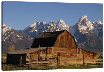Cunningham Cabin In Front Of Grand Teton Range, Wyoming, Close-up Canvas Art Print