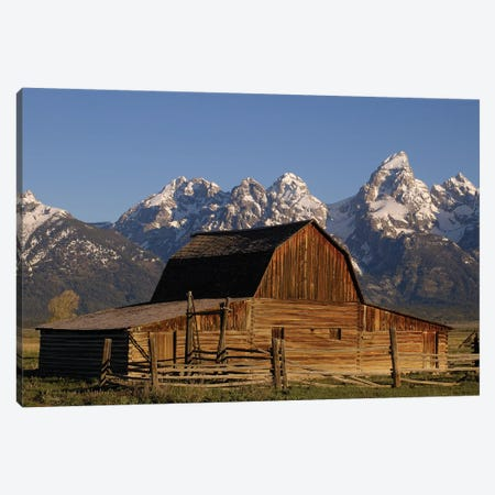 Cunningham Cabin In Front Of Grand Teton Range, Wyoming, Close-up Canvas Print #POX10} by Pete Oxford Canvas Art