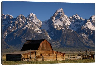 Cunningham Cabin In Front Of Grand Teton Range, Wyoming Canvas Art Print