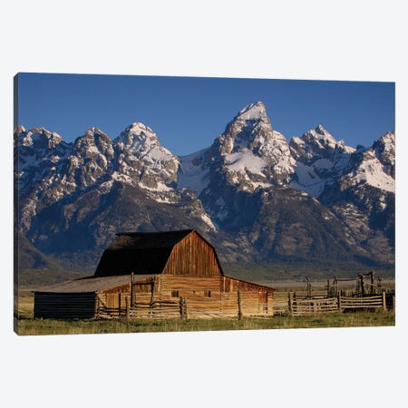 Cunningham Cabin In Front Of Grand Teton Range, Wyoming Canvas Print #POX9} by Pete Oxford Canvas Art
