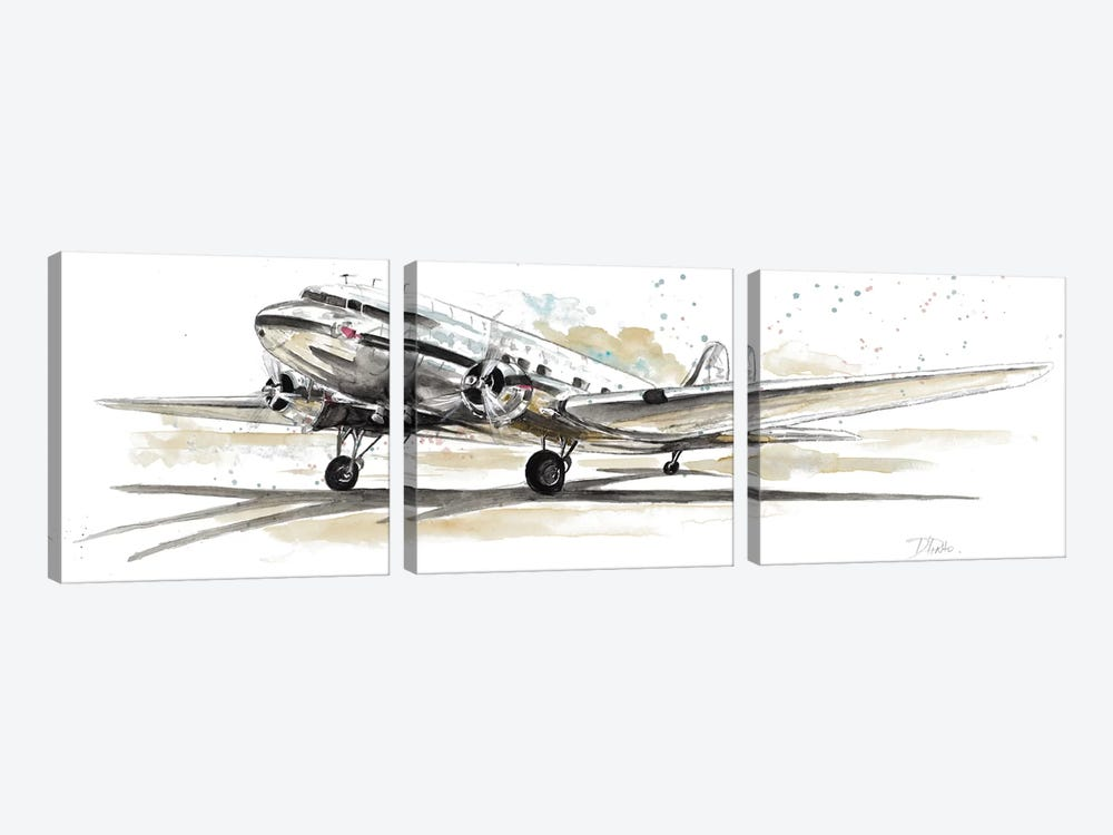 DC3 Airplane 3-piece Canvas Artwork