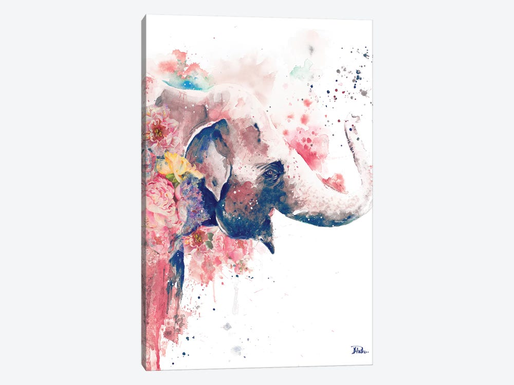 Floral Water Elephant by Patricia Pinto 1-piece Art Print