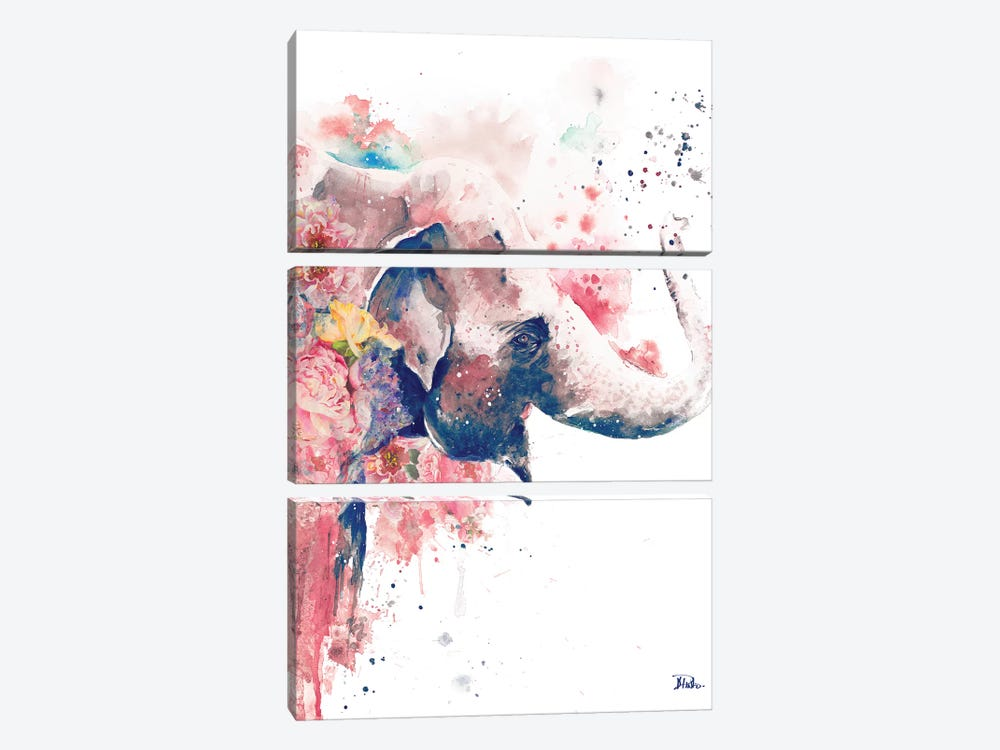 Floral Water Elephant by Patricia Pinto 3-piece Canvas Print
