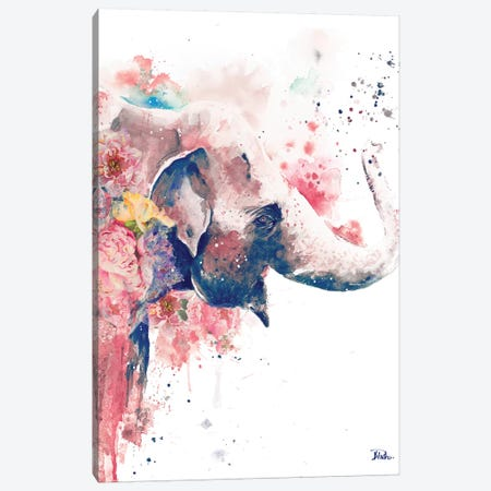 Floral Water Elephant Canvas Print #PPI129} by Patricia Pinto Canvas Art Print