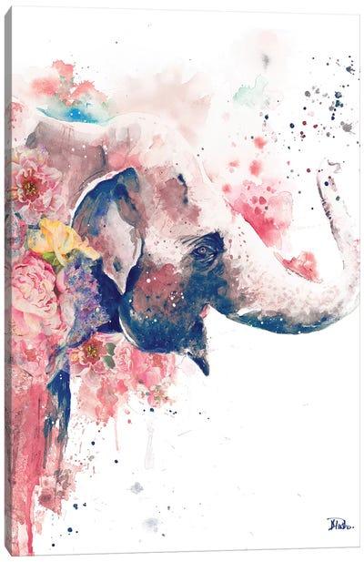 Floral Water Elephant Canvas Art Print
