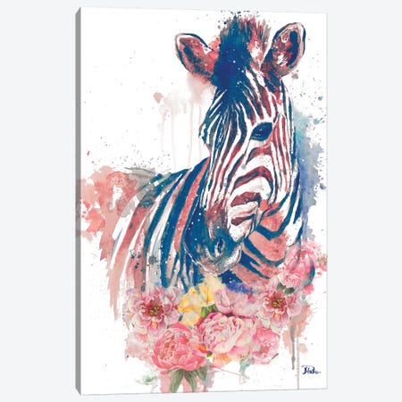 Floral Watercolor Zebra Canvas Print #PPI130} by Patricia Pinto Canvas Wall Art