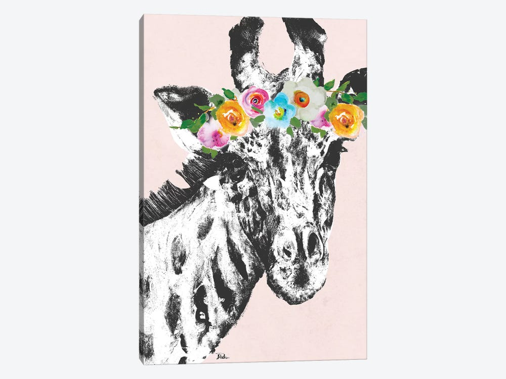 Flower Crown Giraffe by Patricia Pinto 1-piece Canvas Wall Art