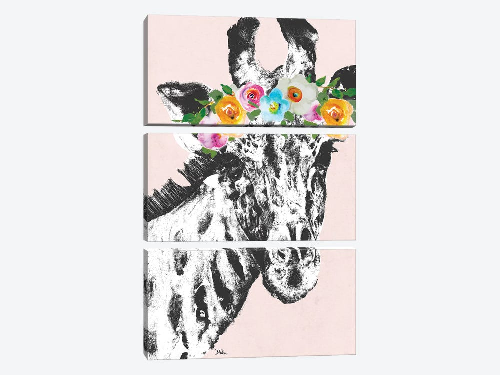 Flower Crown Giraffe by Patricia Pinto 3-piece Canvas Artwork
