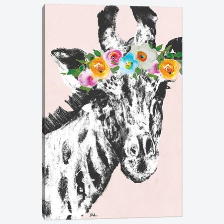 Flower Crown Giraffe Canvas Print #PPI131} by Patricia Pinto Canvas Artwork