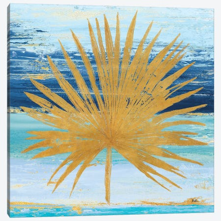 Gold and Teal Leaf Palm I Canvas Print #PPI143} by Patricia Pinto Canvas Print