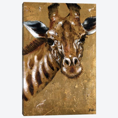 Gold Giraffe Canvas Print #PPI147} by Patricia Pinto Canvas Artwork