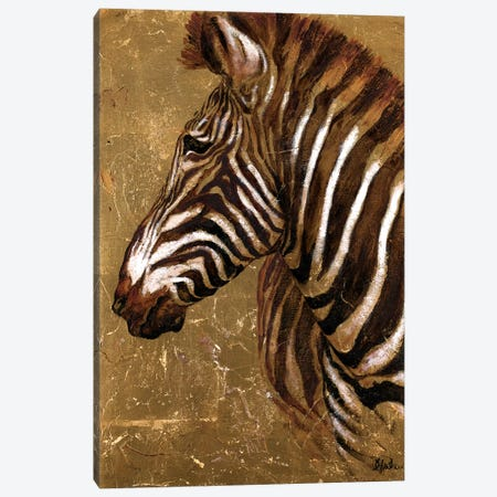 Gold Zebra Canvas Print #PPI155} by Patricia Pinto Art Print
