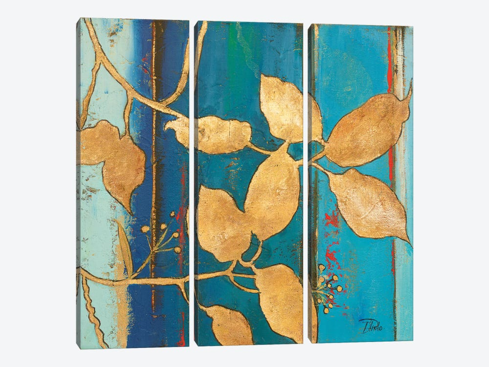 Golden Blue II by Patricia Pinto 3-piece Canvas Art