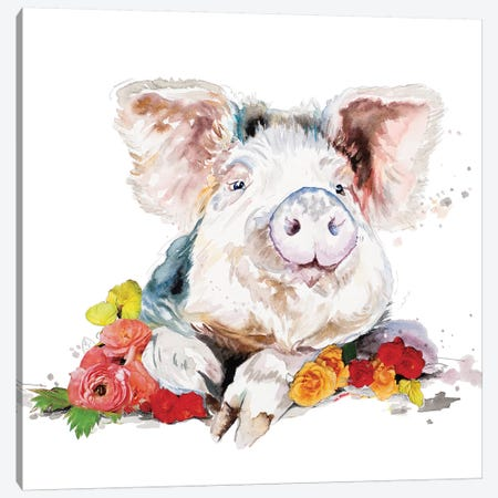 Happy Little Pig Canvas Print #PPI166} by Patricia Pinto Canvas Art