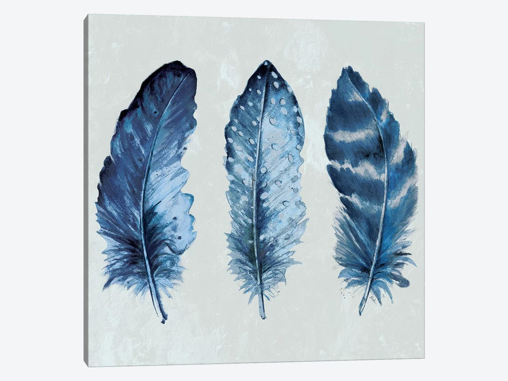 Indigo Blue Feathers I 1-piece Canvas Artwork