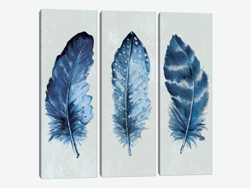 Indigo Blue Feathers I 3-piece Canvas Artwork