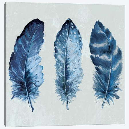 Indigo Blue Feathers I Canvas Print #PPI173} by Patricia Pinto Canvas Wall Art
