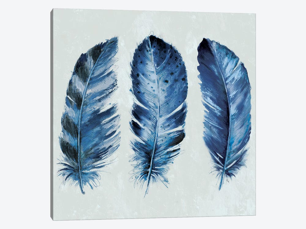 Indigo Blue Feathers II by Patricia Pinto 1-piece Canvas Art Print