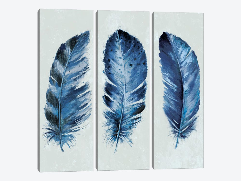 Indigo Blue Feathers II by Patricia Pinto 3-piece Canvas Art Print
