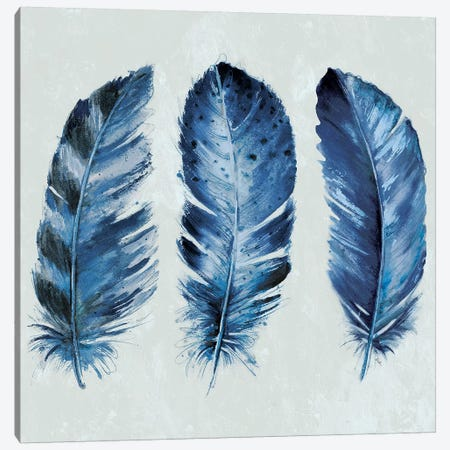 Indigo Blue Feathers II 3-Piece Canvas #PPI174} by Patricia Pinto Art Print