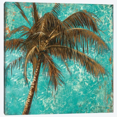 Palm on Turquoise I Canvas Print #PPI222} by Patricia Pinto Canvas Wall Art