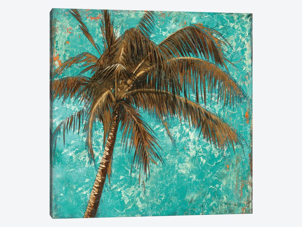 Palm on Turquoise I by Patricia Pinto 1-piece Canvas Art