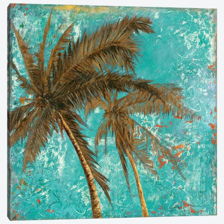 Palm on Turquoise II Canvas Print #PPI223} by Patricia Pinto Canvas Artwork